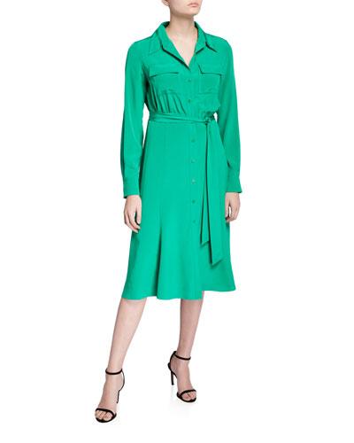 Antonette Belted Silk Shirt Dress