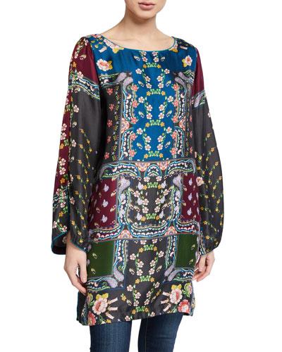 Cordia Printed Boat-Neck Long-Sleeve Silk Tunic