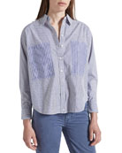Current/Elliott The Percy Road Striped Button-Down Blouse