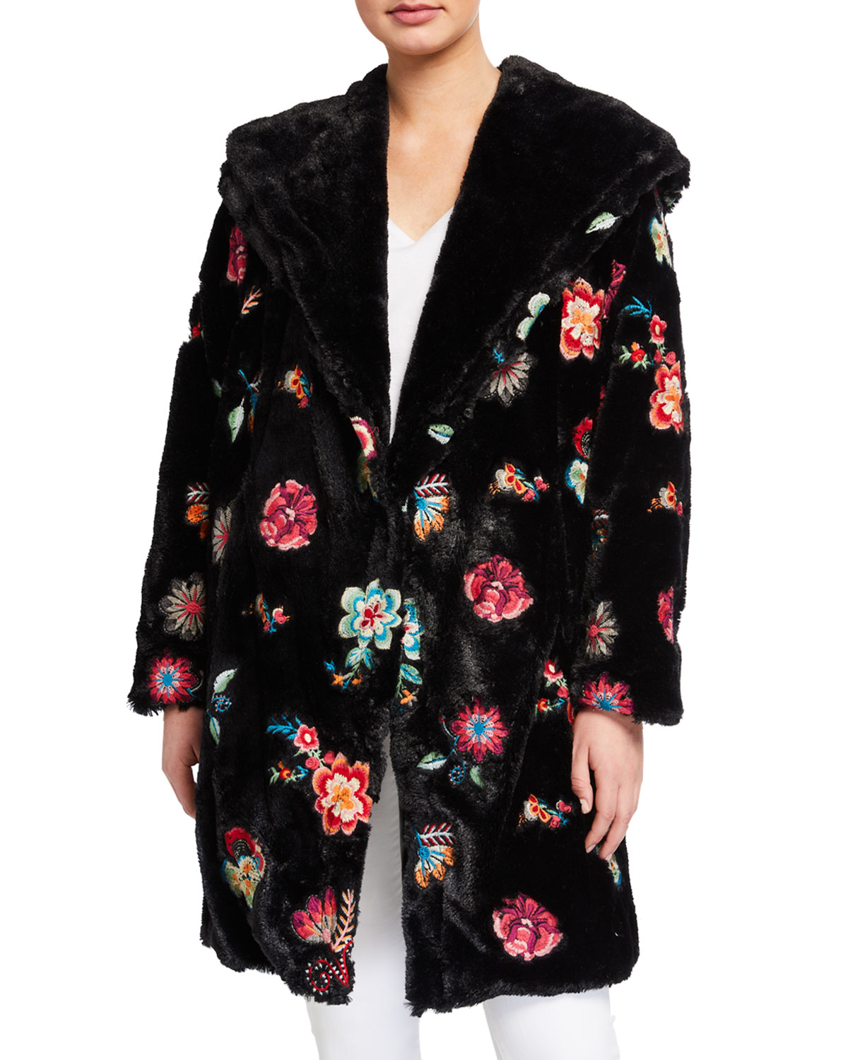 Johnny Was Coats MYANMAR FAUX-FUR EMBROIDERED FLOWER COAT