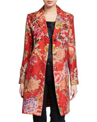 Lodi Floral Button-Front Embellished Topper Coat