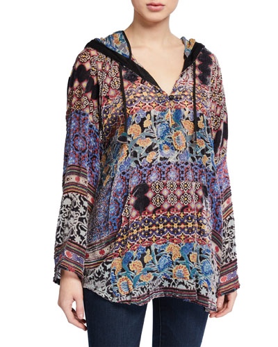 Plus Size Karma Burnout Aztec Pullover Velvet Hoodie