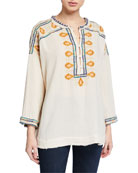 Johnny Was Pillar Embroidered Long-Sleeve Gauze Blouse