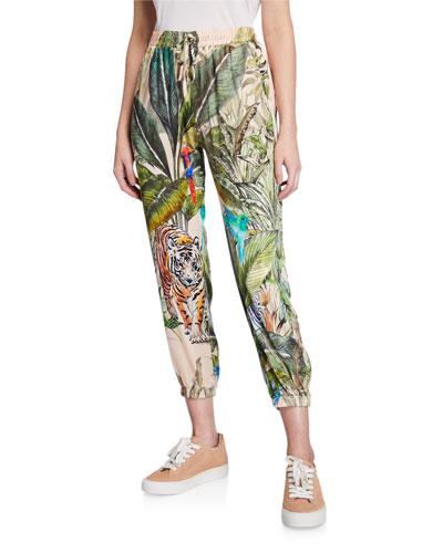 Lex Tropical Stretch Silk Jogger Pants