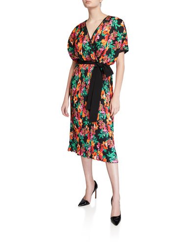 Autumn Pleated Floral Short-Sleeve Wrap Dress