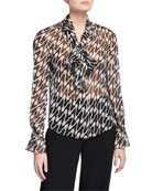 Diane von Furstenberg Tina Printed Tie-Neck Button-Down Top