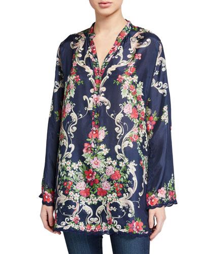 Hadley Floral V-Neck Long-Sleeve Silk Tunic