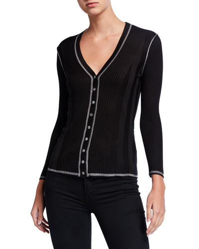 3/4-Sleeve Piped Button-Front Cardigan w/ Back Stripe