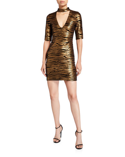 Inka Golden-Striped V-Neck Dress