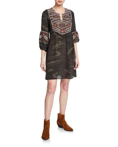 Plus Size Molly Jo Paris Silk Camo Dress with Embroidery