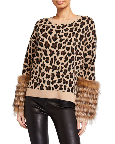 Shiela Leopard-Print Pullover with Fur Cuffs