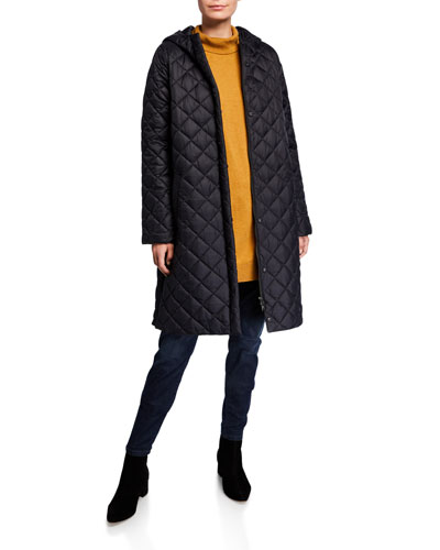 Petite Hooded Recycled Nylon Diamond Quilted Coat