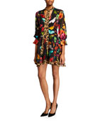 Alice + Olivia Moore Layered Short Blouson-Sleeve Dress
