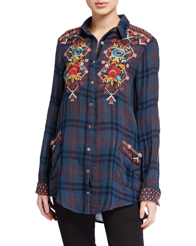 Plus Size Talline Painters Smock Shirt with Embroidery