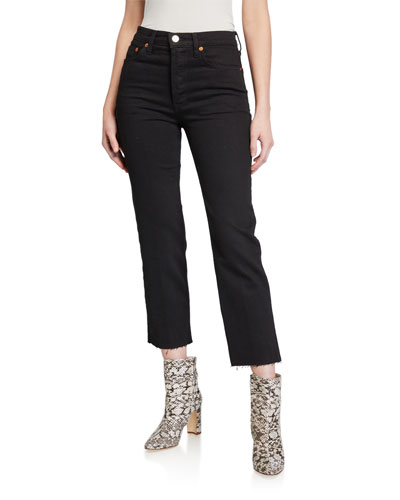 High-Rise Stovepipe Cropped Jeans