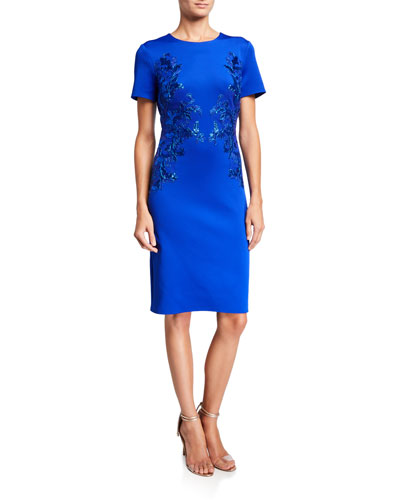 Short-Sleeve Neoprene Sheath Dress with Sequin Detail