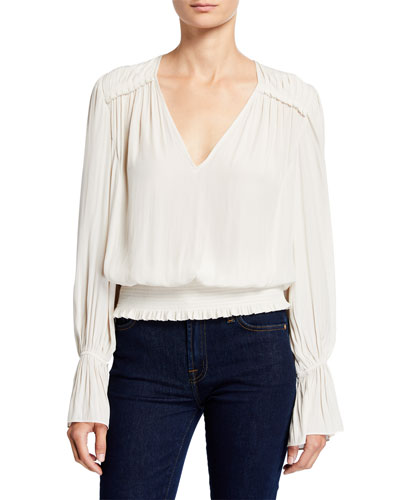 Linda Bell-Sleeve Smocked V-Neck Top
