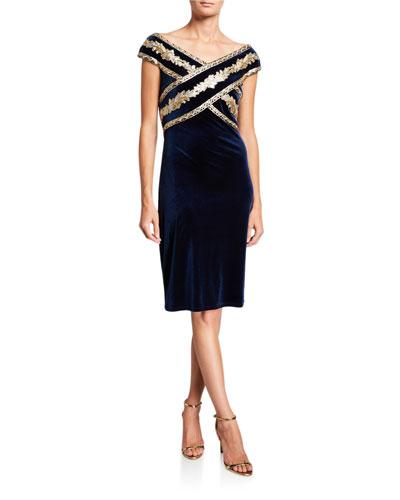 V-Neck Short-Sleeve Velvet Dress with Embroidered Detail