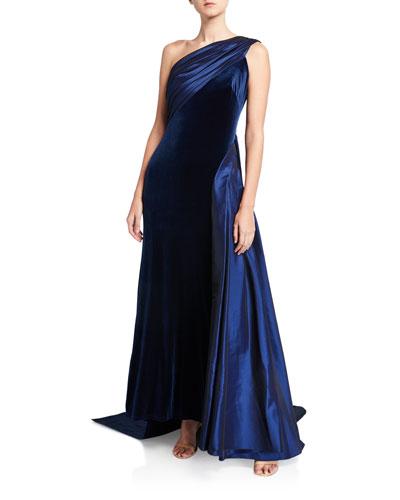 One-Shoulder Velvet Gown with Taffeta Detail