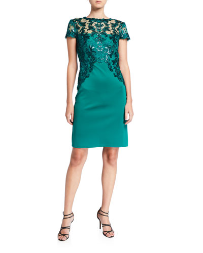 Cap-Sleeve Neoprene Dress with Sequin Lace Detail