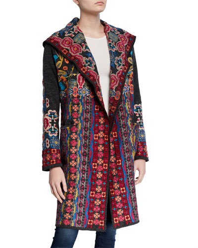 Plus Size Treli Embroidered Long Hooded Cardigan