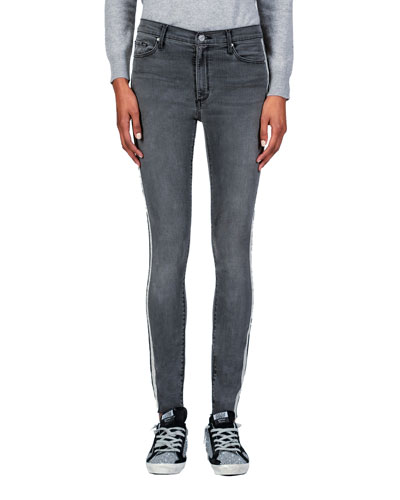 Carmen High-Rise Ankle Fray Jeans with Side Stripes