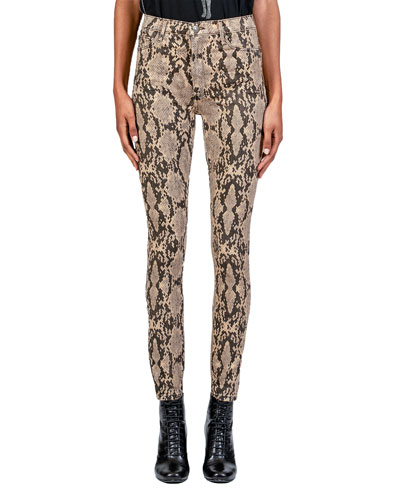 Christie Super High-Rise Python-Print Jeans