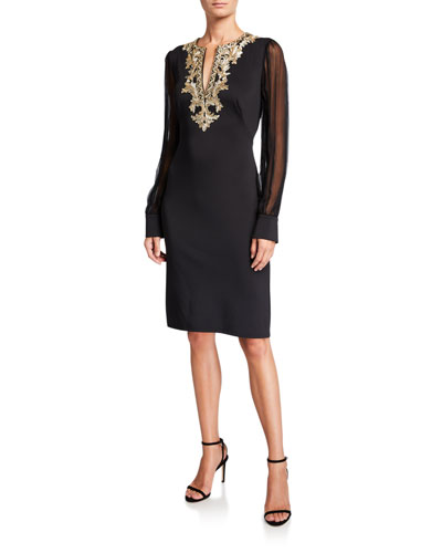 Chiffon Long-Sleeve Split-Neck Neoprene Dress with Lace-Trim