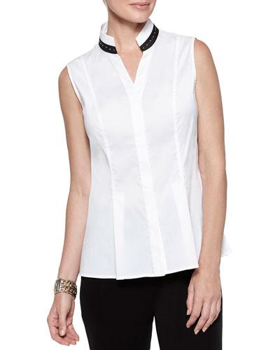 Sleeveless Studded-Collar Shirt