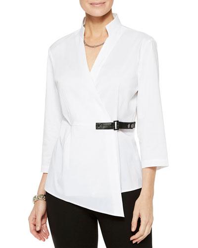 3/4-Sleeve Stretch Cotton Wrap Blouse w/ Belt Detail