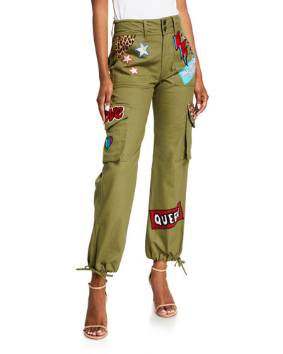 High-Waisted Cargo Pants w/ Patches