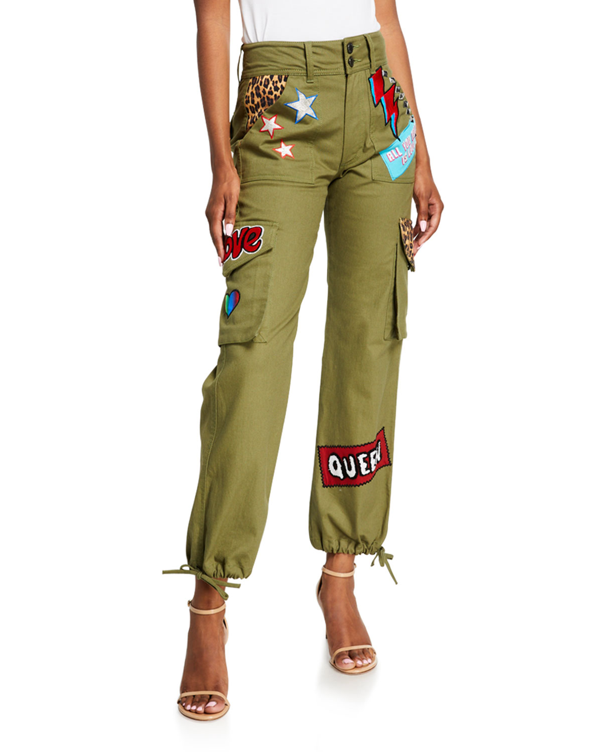 Alice + Olivia Jeans Flared pants HIGH-WAISTED CARGO PANTS W/ PATCHES