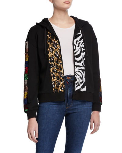 Barron Sequined Zip-Up Hoodie