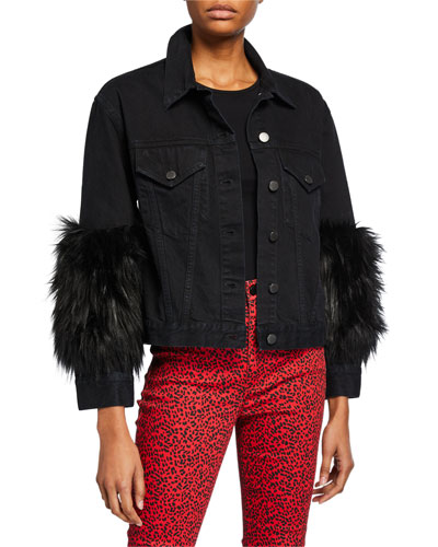 Cropped Denim Jacket with Faux Fur Cuffs