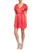 Elliatt Mona Polka Dot V-Neck Short-Sleeve Dress