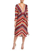 Elliatt Edie V-Neck 3/4-Sleeve Striped Dress