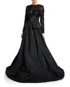 Rickie Freeman for Teri Jon Beaded Lace-Bodice Long-Sleeve