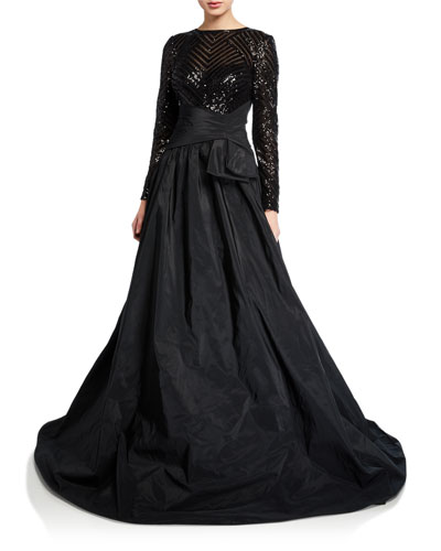Beaded Lace-Bodice Long-Sleeve Taffeta Gown