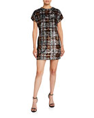 Aidan by Aidan Mattox Plaid Sequin Cap-Sleeve Shift
