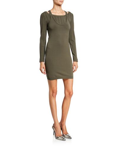 Mesh Stripe Bi-Layer Long-Sleeve Mini Dress