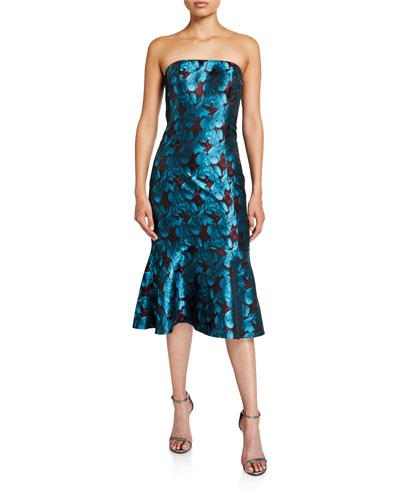 Strapless Floral Jacquard Flounce-Hem Dress
