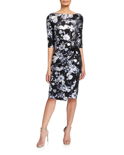 Stone Embellished Floral 3/4-Sleeve Dress w/ Drape Detail
