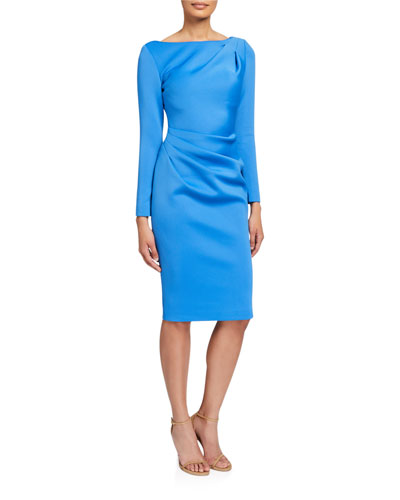 Long-Sleeve High-Neck Draped Front Scuba Dress