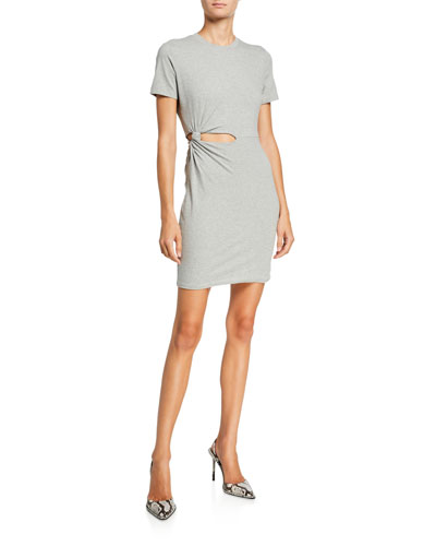 Compact Jersey Twisted Cutout Tee Dress