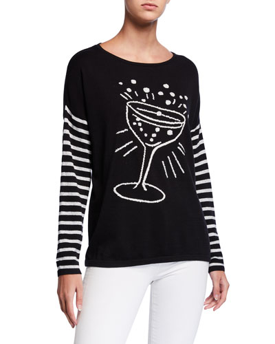 Pop The Cork Sweater w/ Champagne Toast Intarsia & Striped Sleeves