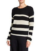 Joan Vass Crewneck Cropped Stripe Sweater and Matching
