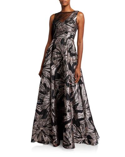 Metallic Brocade Sleeveless Asymmetric Bodice Gown
