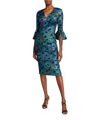 V-Neck 1/2-Sleeve Cloque Dress