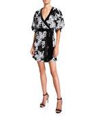 Jay Godfrey Lanai Sequin Floral Elbow-Sleeve Kimono Wrap