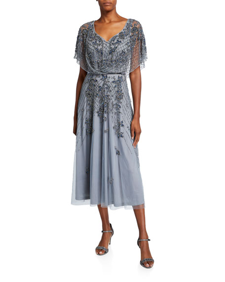 Theia Dolman-Sleeve Handed Beaded Midi Cocktail Dress